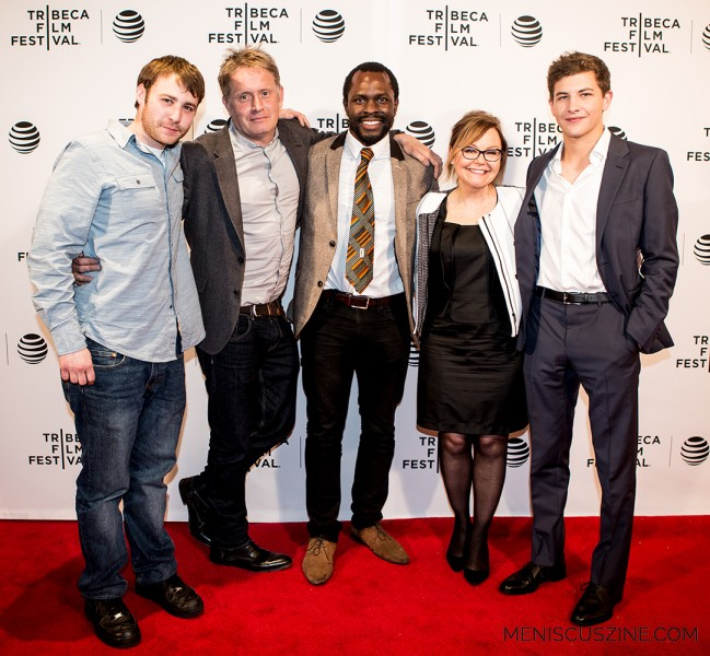 "(left to right) Actor Emory Cohen, director Christopher Smith, actor Gbenga Akinnagbe, producer Julie Baines and actor Tye Sheridan at the world premiere of ""Detour"" in New York. (photo by Ekaterina Golovinskaya / Meniscus Magazine)"