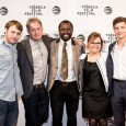"Actors Emory Cohen, Gbenga Akinnagbe and Tye Sheridan; director Christopher Smith; and producer Julie Baines attended the world premiere of ""Detour."""