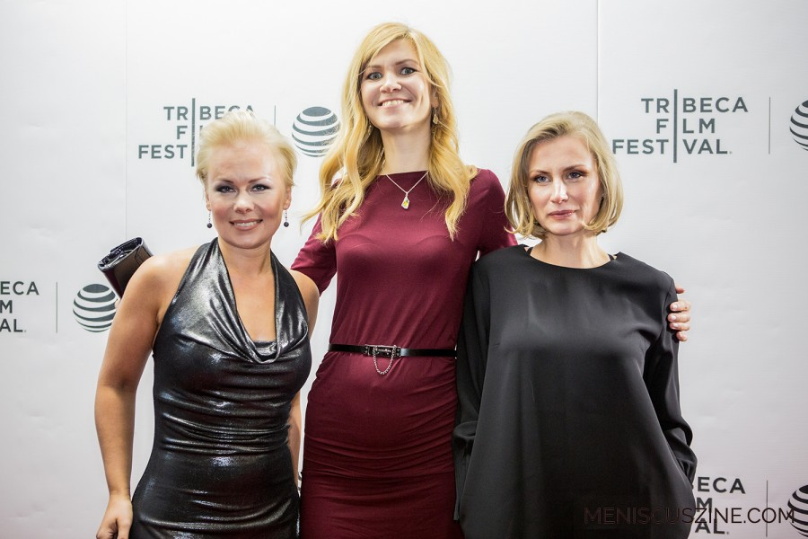 "The international premiere of ""Mother"" (""Ema"" in Estonian) took place at the 2016 Tribeca Film Festival. From left to right, the all-female team behind the film: screenwriter Leana Jalukse, director Kadri Kõusaar and producer Aet Laigu. (photo by Ekaterina Golovinskaya / Meniscus Magazine)"