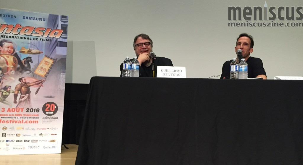 Guillermo del Toro (left) with Tony Timpone, Fantasia Co-Director of International Programming. (photo by Paul Kazee / Meniscus Magazine)