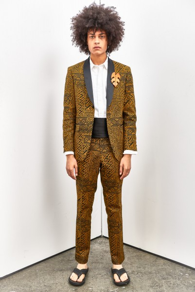 A black-and-gold tribal print formal suit from the David Hart Spring 2017 menswear collection. (photo courtesy of agentry pr)