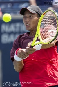 Yen-Hsun Lu in action in the first round at the 2016 Rogers Cup. (photo by Kwai Chan / Meniscus Magazine)