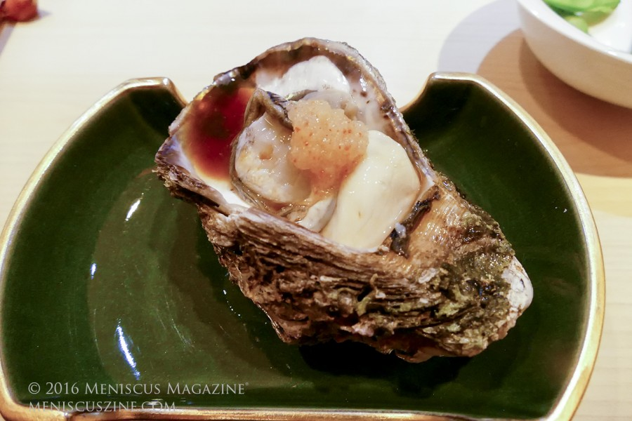 Rock oyster from the Aomori Prefecture in Japan, as served at Sushi Masato in Bangkok, Thailand. (photo by Yuan-Kwan Chan / Meniscus Magazine)