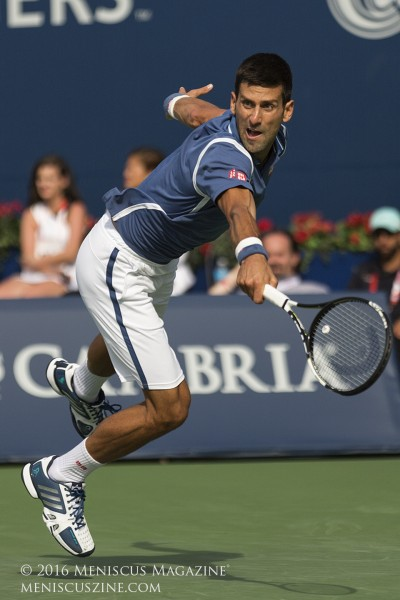 Novak Djokovic has now won back-to-back titles in Toronto, which hosts the men in even years, and the women every odd year. (photo by Kwai Chan / Meniscus Magazine)