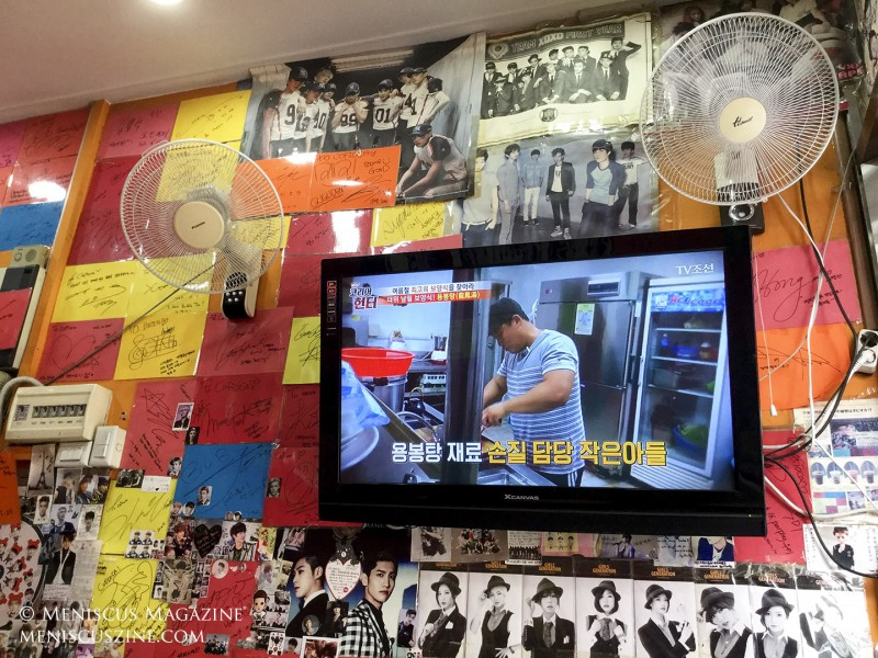 Cofioca is a grab-and-go operation for most, but for those who want to sit in the cramped space and cool off (or warm up, depending on the season) a bit, a flat-screen TV is perpetually set to Korean shows. (photo by Yuan-Kwan Chan / Meniscus Magazine)