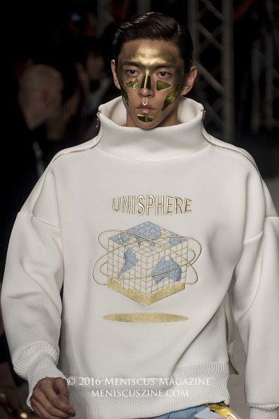 """""""Peace Through Understanding"""" is the motto for the Q DESIGN AND PLAY Fall 2016 men's collection. (photo by Yuan-Kwan Chan / Meniscus Magazine)"""
