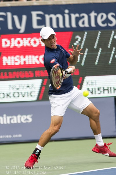 Nishikori won just 18 percent of first serve return points against Djokovic (eight of 44 points). (photo by Kwai Chan / Meniscus Magazine)