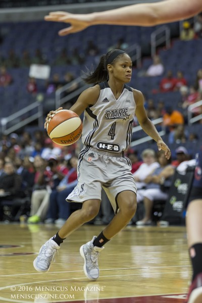 Moriah Jefferson, 22, of the San Antonio Stars. (photo by Kwai Chan / Meniscus Magazine)