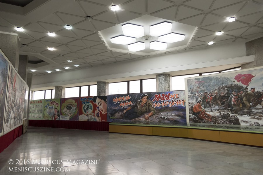 Murals on display in the Central Youth Hall at the 2016 Pyongyang International Film Festival. (photo by Meniscus Magazine)