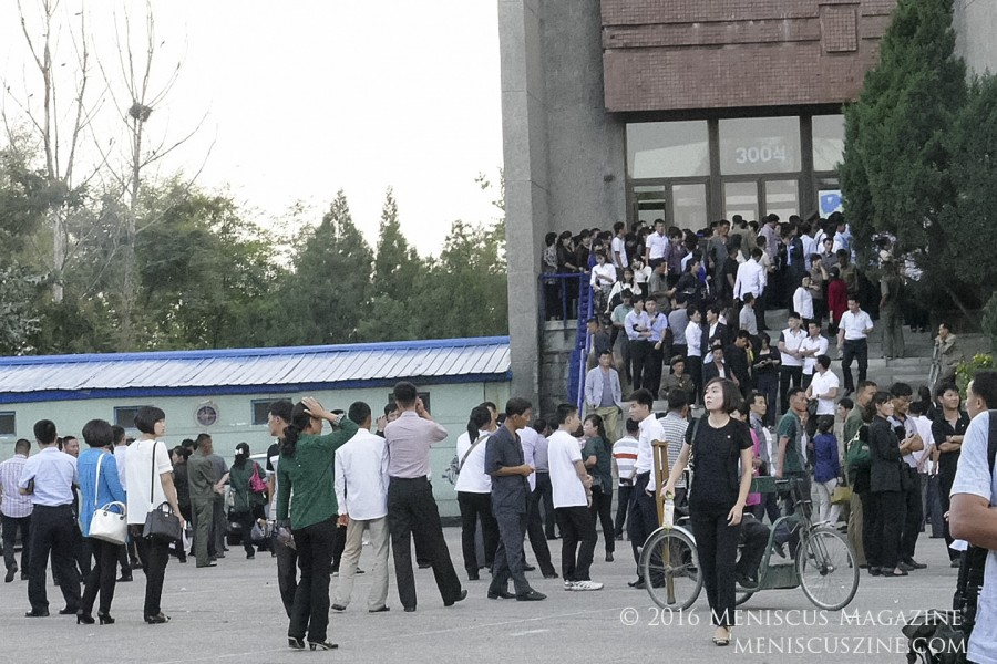 Spectators wait to enter the 300-seat theatre at the Pyongyang International Cinema House. (photo by Meniscus Magazine)