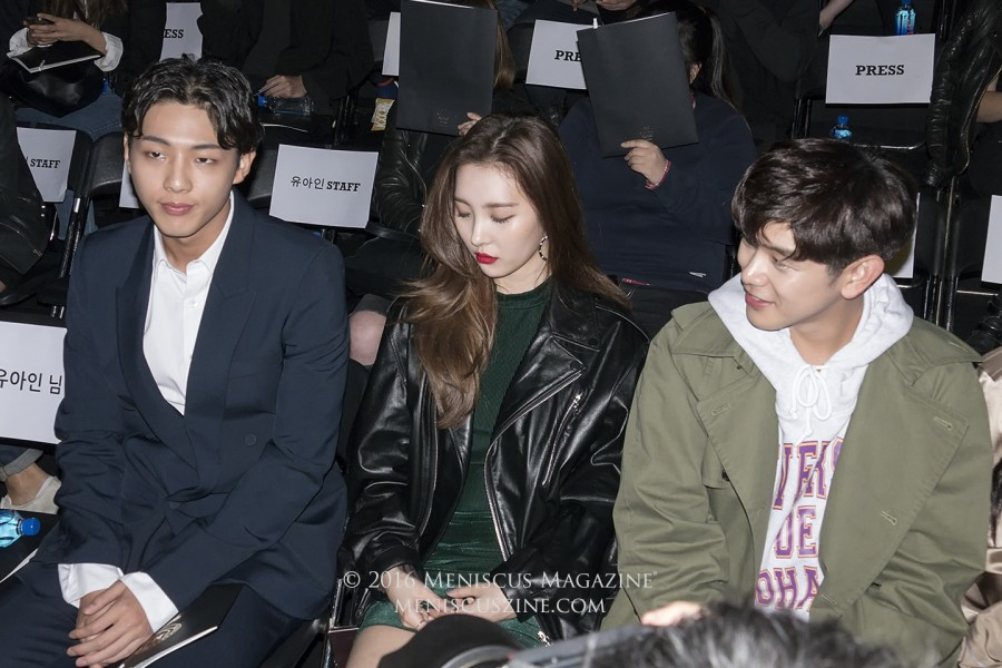 Actor Ji Soo (left), singer Sunmi of the Wonder Girls (center), and singer Eric Nam (right). Nam is wearing a sweatshirt from the Nohant Spring 2017 collection. (photo by Yuan-Kwan Chan / Meniscus Magazine)
