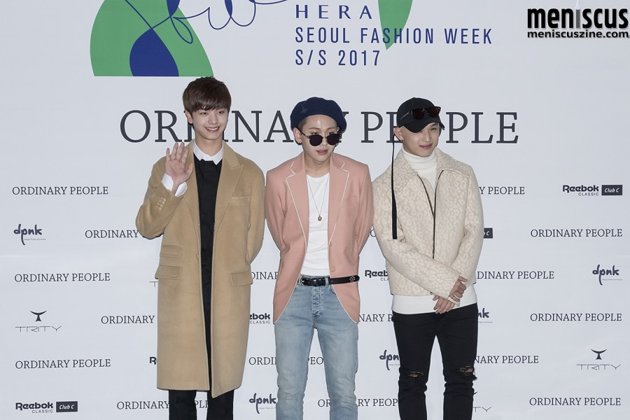 Yook (left) has worn the label's clothing in a number of photo shoots.  Jung (center) is wearing a jacket from the Ordinary People Fall 2016 collection. (photo by Yuan-Kwan Chan / Meniscus Magazine)