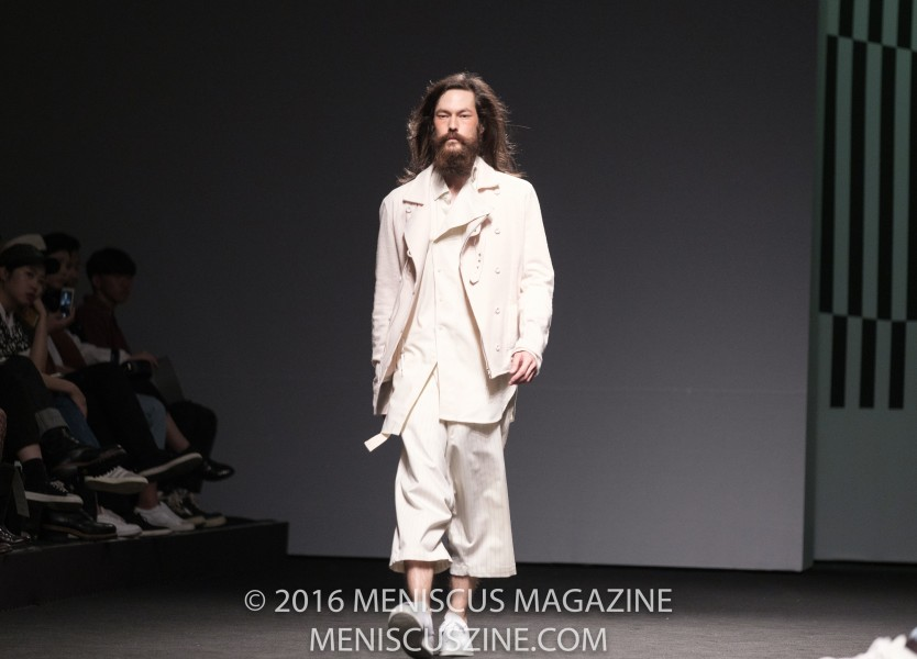 "The A.AV Spring 2017 collection was titled ""Shape Your Beard,"" although James Lee McQuown was the only model in the label's Seoul Fashion Week runway show who had one. McQuown, who is Korean, grew up in Florida and lives in Seoul. (photo by Ryan Bentley for Meniscus Magazine)"