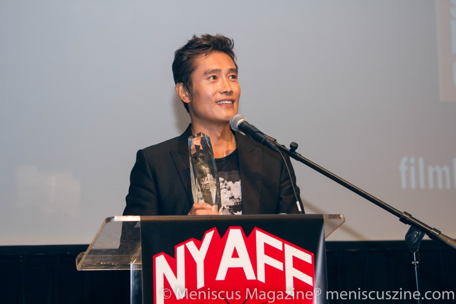 South Korean actor Lee Byung-hun was one of three Star Asia Award winners at the 2016 New York Asian Film Festival. (The other two were Hong Kong actress Miriam Yeung and actor John Lloyd Cruz of the Philippines.) (photo by Yanek Che / Meniscus Magazine)
