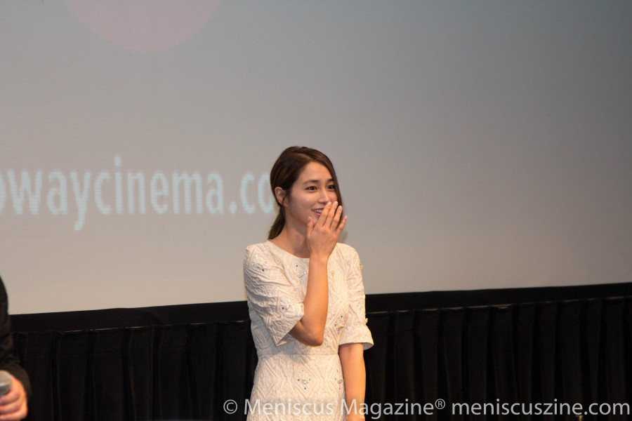 Lee Byung-hun's wife, actress Lee Min-jung, bashfully addresses the crowd at the Walter Reade Theater at the Film Society of Lincoln Center. (photo by Yanek Che / Meniscus Magazine)