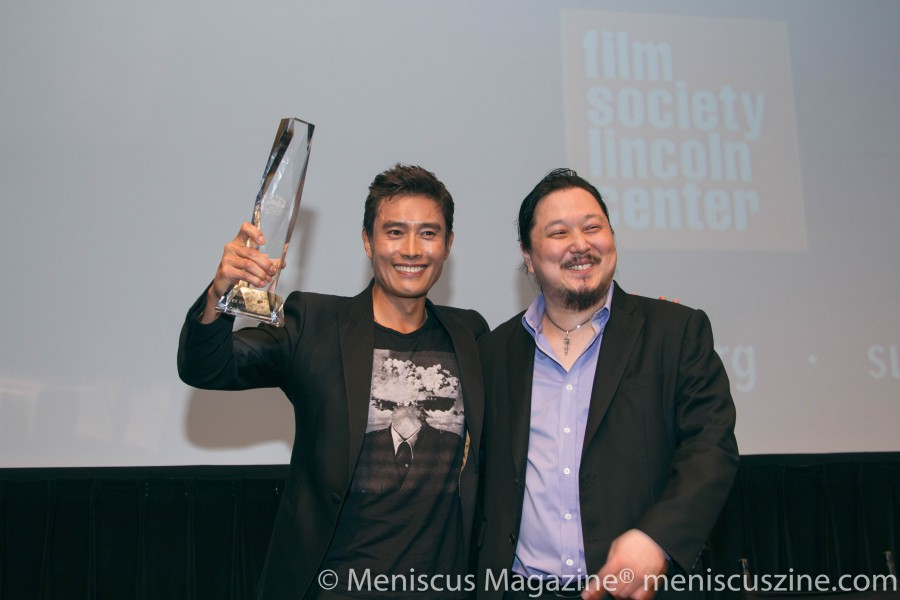 Lee Byung-hun with Samuel Jamier (right), executive director of the New York Asian Film Festival. (photo by Yanek Che / Meniscus Magazine)