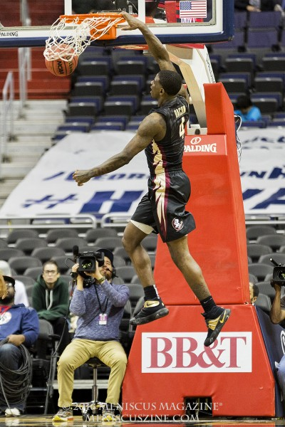 Florida State sophomore Dwayne Bacon nails a dunk at the 2016 BB&T Classic. (photo by Kwai Chan / Meniscus Magazine)