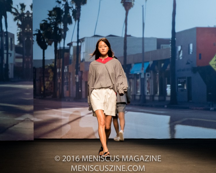 Model Hyoni Kang in the Ordinary People Spring 2017 runway show at the Dongdaemun Design Plaza. (photo by Ryan Bentley / Meniscus Magazine)