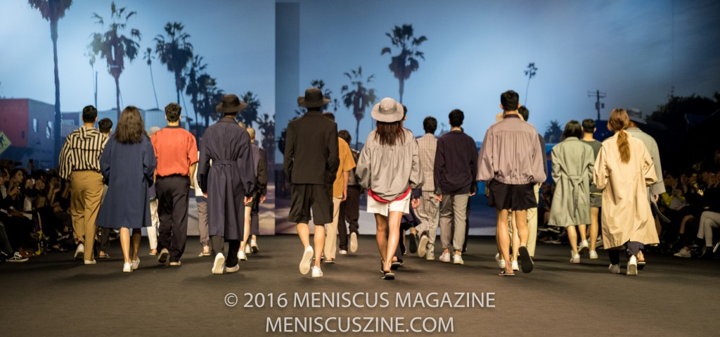 Departing the runway at the finale of the Ordinary People Spring 2017 show at Seoul Fashion Week. (photo by Ryan Bentley / Meniscus Magazine)