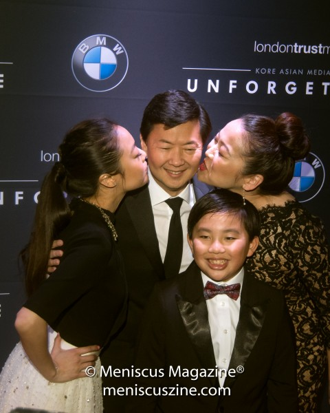 Ken Jeong's TV family from Dr. Ken congratulate the actor: Krista Marie Yu (left), Suzy Nakamura (right) and Albert Tsai (front). (photo by Ali Zandi for Meniscus Magazine)