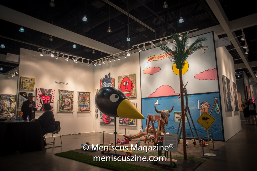UNO is a character that figures into Tieken's art - more specifically, UNO is a GMO (genetically modified) bird. (photo by Ali Zandi for Meniscus Magazine)