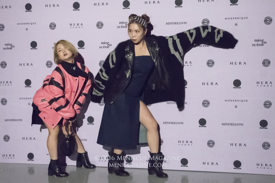Park Na-rae (left) and Heo Anna are both wearing jackets from the KIMMY.J Fall 2016 collection. (photo by Yuan-Kwan Chan / Meniscus Magazine)
