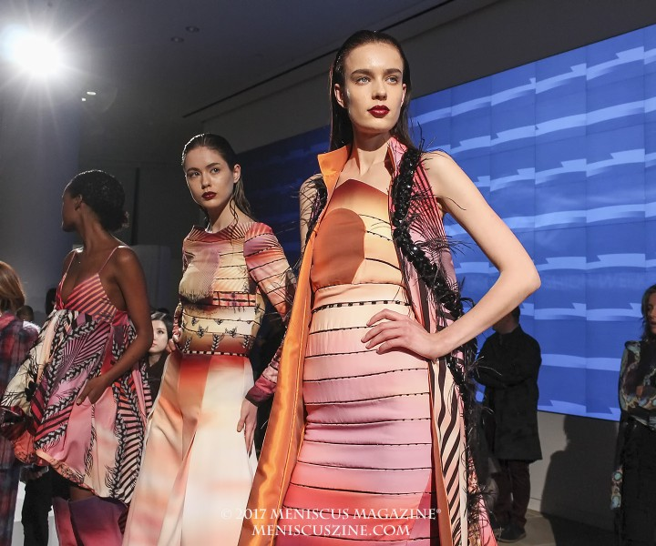 "Designs by Carlos de Moya of the Dominican Republic. The exclusive capsule collections for the Epson Digital Couture show followed the theme of ""Textile Stories."" According to a statement issued by the organizers on the printing company's presence at New York Fashion Week: ""Digital dye-sublimation and direct-to-garment technologies, a relatively new trend in the textile industry, allow designers to alter textile designs, make color selections with the click of a mouse, and hone in on the fine details of their creations. Epson's SureColor® F-Series printers give fashion and textile designers alike an accessible means to bring their ideas and inspiration to life, with the signature quality that distinguishes the Epson brand. The SureColor F-Series printers are high-speed, low-cost solutions that produce sharp, vivid images and offer an abundance of rich colors, intense blacks, and smooth gradations onto fabric."" (photo by Shelly Xu / Meniscus Magazine)"