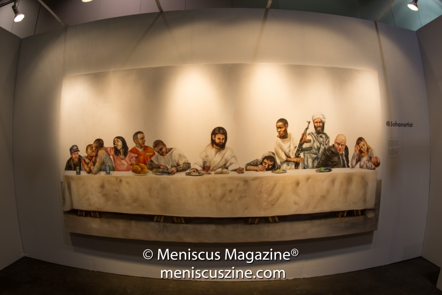 """""""Last Supper"""" by Johan Andersson. The print was also featured on T-shirts and sold for US$40 each. (photo by Ali Zandi / Meniscus Magazine)"""