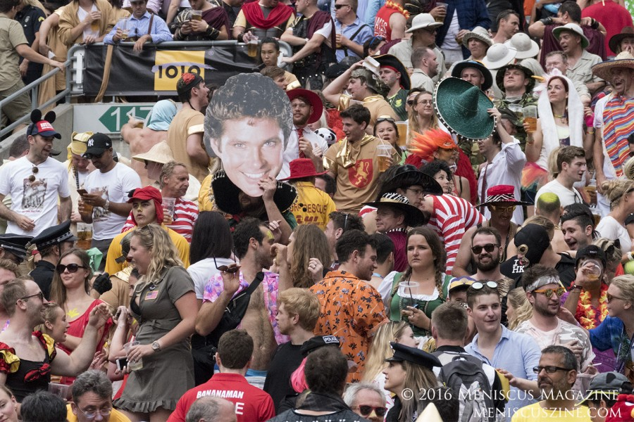 A giant ode to David Hasselhoff appears in the South Stand crowd during the 2016 Hong Kong Sevens. (photo by Yuan-Kwan Chan / Meniscus Magazine)
