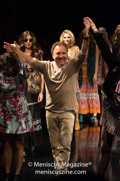 Hale Bob designer Daniel Bohbot at the conclusion of his Fall 2017 runway collection at the Beverly Hilton. (photo by Ali Zandi / Meniscus Magazine)