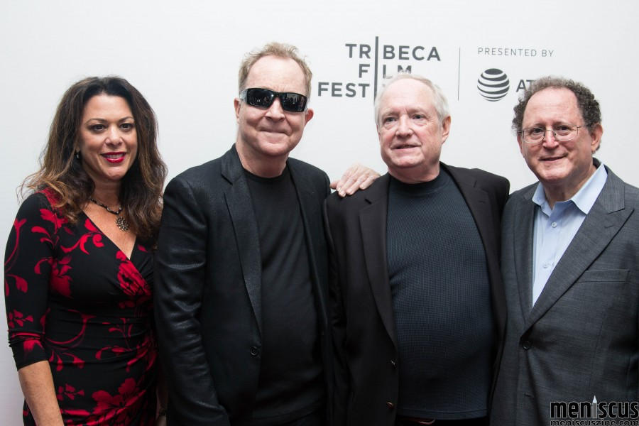 "(l-r) ""Dare to Be Different"" director Ellen Goldfarb; Fred Schneider of The B-52's; Denis McNamara and producer Roger Senders before the Apr. 27 screening of the film at the 2017 Tribeca Film Festival. (photo by Yanek Che / Meniscus Magazine)"
