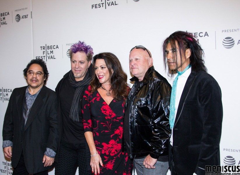 """Dare to Be Different"" director Ellen Goldfarb (center) with members of A Flock of Seagulls, who performed a live tribute to WLIR at the Apr. 27 screening of the 2017 Tribeca Film Festival alongside The Alarm and Dave Wakeling of The English Beat. Pictured with Goldfarb are Joe Rodriguez (left), Kevin Rankin (second from left), Mike Score (second from right) and Pando (right). (photo by Yanek Che / Meniscus Magazine)"