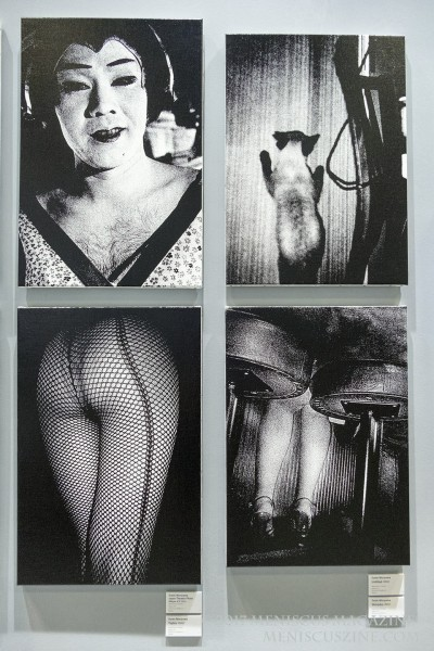 Photographer: Daido Moriyama Upper left: Japan Theater Photo Album #3 (2012) Upper right: Untitled (2012) Lower left: Tights (2012) Lower right: Shinjuku (2012) all silkscreen on canvas (photo by Yuan-Kwan Chan / Meniscus Magazine)