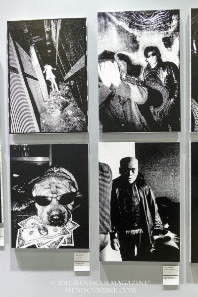 Photographer: Daido Moriyama Upper left: Hunter (2012) Upper right: Hippie Crime (2012) Lower left: Hawaii (2012) Lower right: Japan Theater Photo Album #2(2012) all silkscreen on canvas (photo by Yuan-Kwan Chan / Meniscus Magazine)