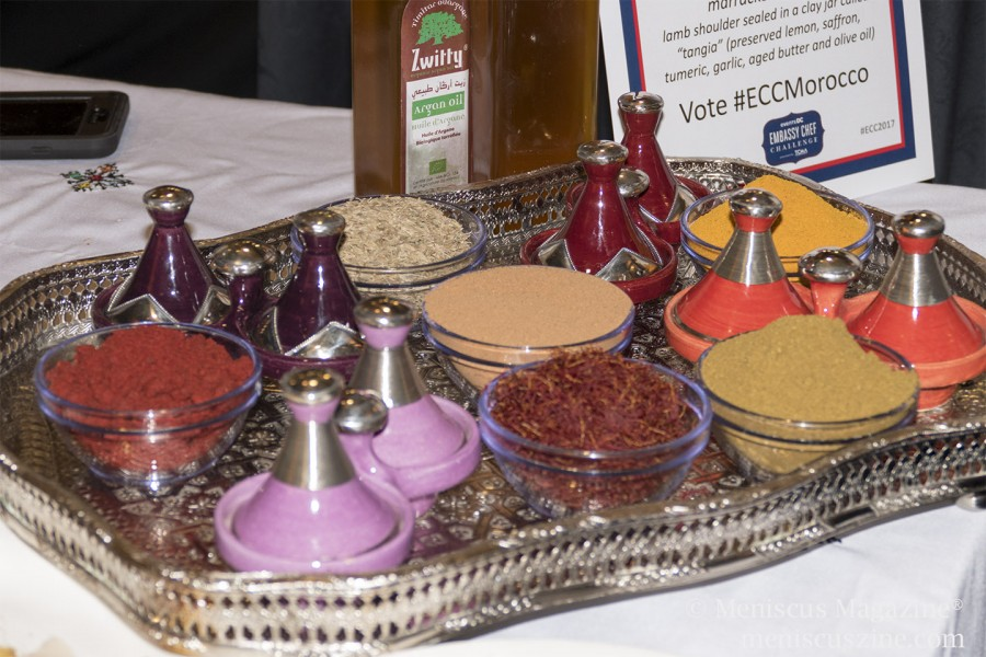 Spices at the Embassy of Morocco table. Chef Moha Fedal's winning dish was the Marrakech Tangia: lamb shoulder sealed in a clay jar called a tangia (with preserved lemon, saffron, tumeric, garlic, aged butter and olive oil). (photo by Kwai Chan / Meniscus Magazine)