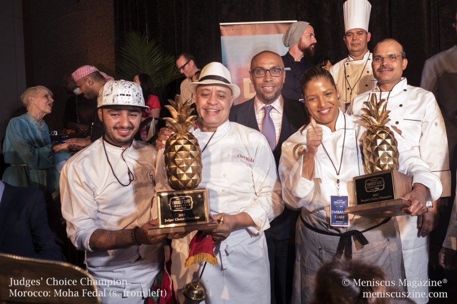 The Judges' Choice Award was given to Chef Moha Fedal of Morocco (second from left). Fedal is the head chef of Dar Moha in Marrakech. Chef Cynthia Verna (second from right) from Haiti won the People's Choice Award. Verna, a resident of Miami, runs her own catering business, Chef Thia's Cuisine. (photo by Kwai Chan / Meniscus Magazine)