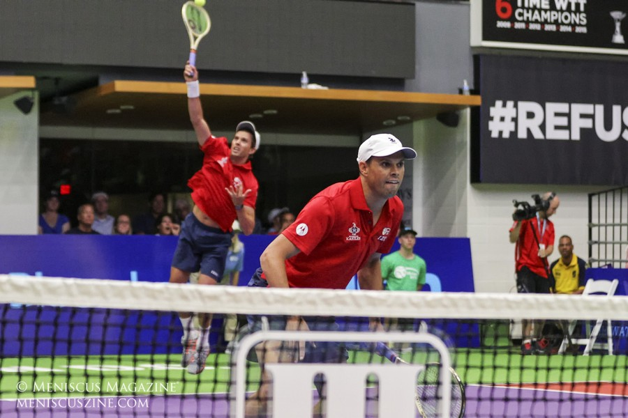 """""""We've played World TeamTennis matches all over the country,"""" Bob Bryan said in a press conference before their home matches. """"We're happy to be on a winning team."""" (photo by Kwai Chan / Meniscus Magazine)"""