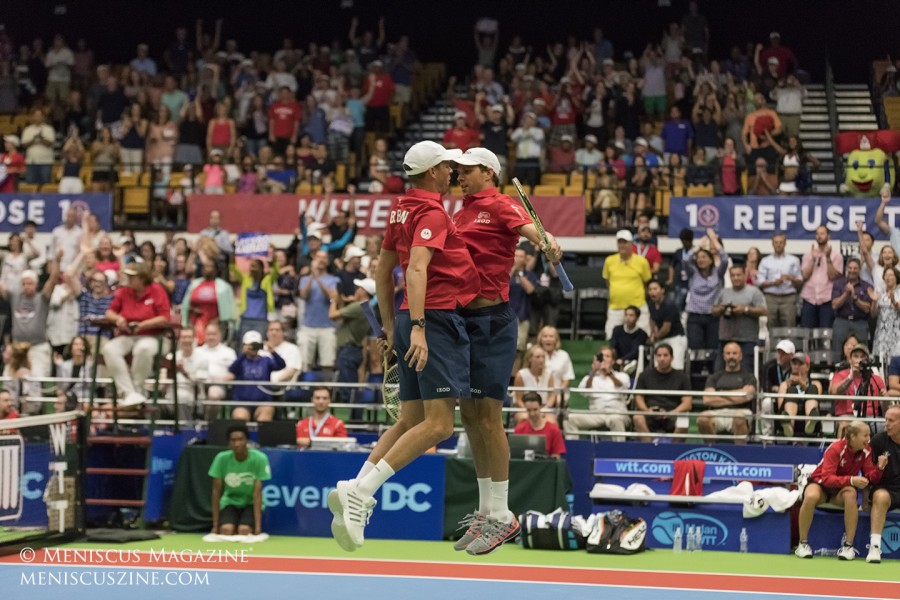 Doubles partners, twin brothers and Washington Kastles teammates Bob and Mike Bryan perform their famous chest bump. (photo by Kwai Chan / Meniscus Magazine)