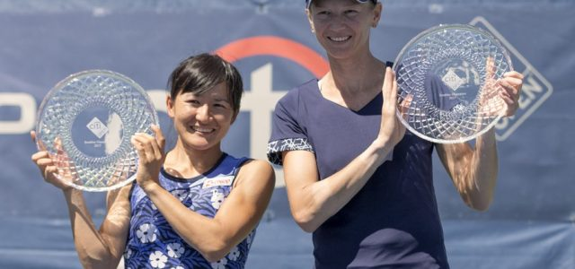 The second-seeded team of Shuko Aoyama and Renata Voracova won 6-3, 6-2, over Sloane Stephens and Eugenie Bouchard.