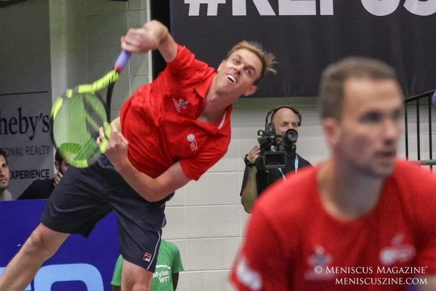 Sam Querrey and Bruno Soares (foreground) playing doubles for the Washington Kastles. (photo by Kwai Chan / Meniscus Magazine)