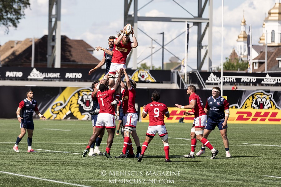 Down by 10 points with minutes to go, Canada evened the score in their Rugby World Cup 2019 qualifying matchup at home, playing to a 28-28 draw with the United States. (photo by Kwai Chan / Meniscus Magazine)