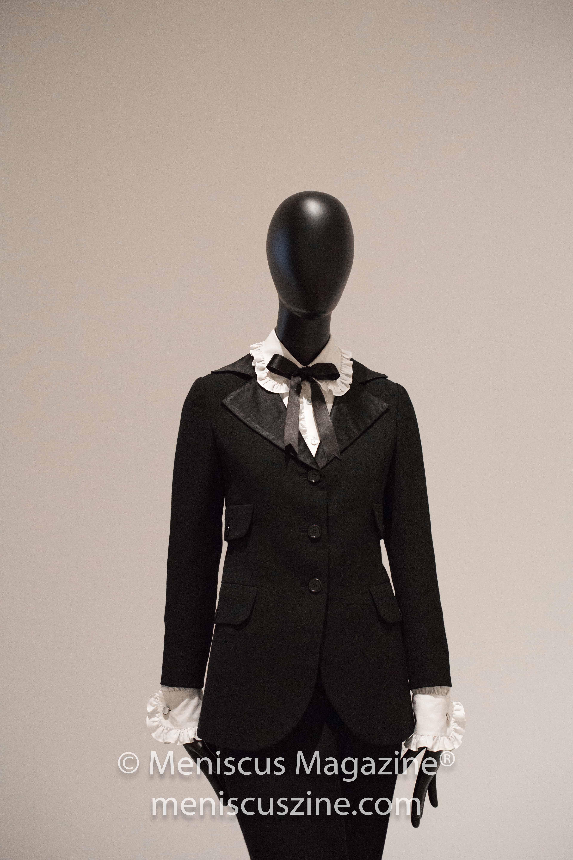 """Le Smoking"" (1967) by Yves Saint Laurent, a men's tuxedo for women. (photo by Asya Danilova / Meniscus Magazine)"