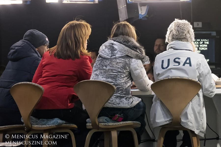 From a spectator's perspective, left to right: Al Roker, Hota Kotb and Savannah Guthrie of the Today Show, and Chloe Kim. (photo by Yuan-Kwan Chan / Meniscus Magazine)