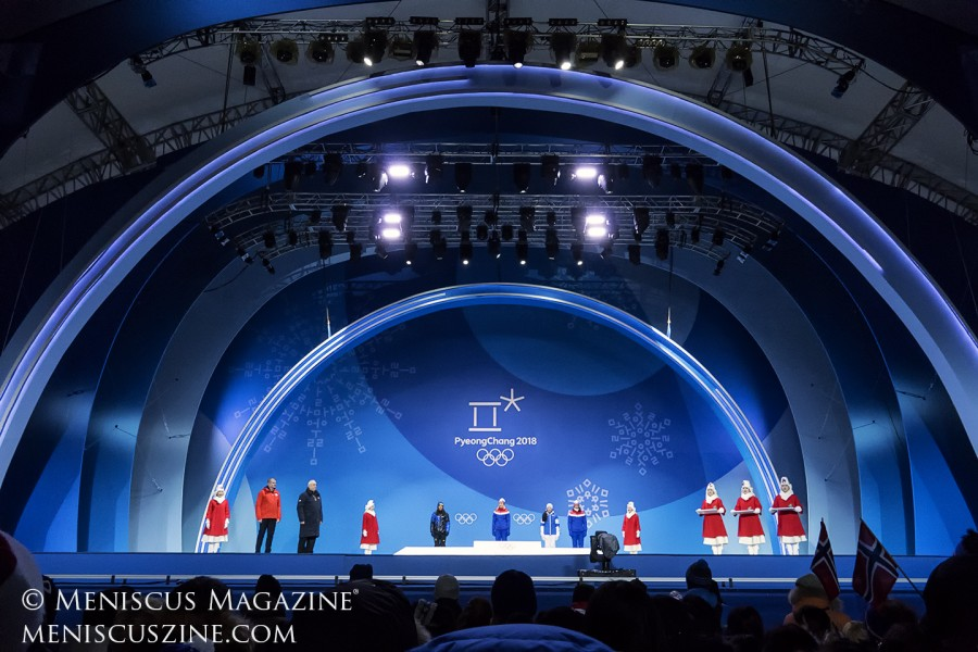 Most medal ceremonies were held away from competition venues every evening at the outdoor PyeongChang Olympic Plaza.