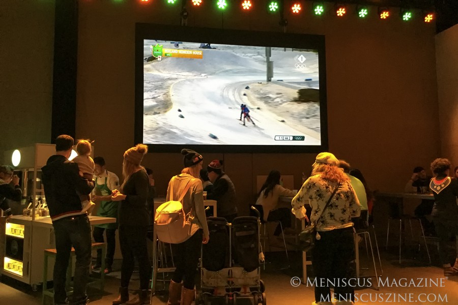 Taking in live Olympic coverage at the Holland Heineken House. (photo by Yuan-Kwan Chan / Meniscus Magazine)