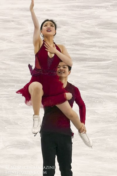 Maia and Alex Shibutani performing their free dance to Coldplay at the 2018 Winter Olympic ice dancing competition.