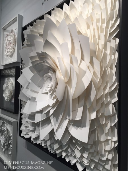 Julia Johnson's paper sculptures are tear-proof and waterproof. (photo by Megan Lee / Meniscus Magazine)