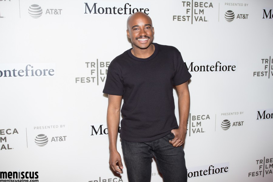 "Jacques Morel, news anchor at online music community ""Genius,"" moderated Jamie Foxx's Tribeca Talks: Storytellers panel in New York. (photo by Yanek Che / Meniscus Magazine)"