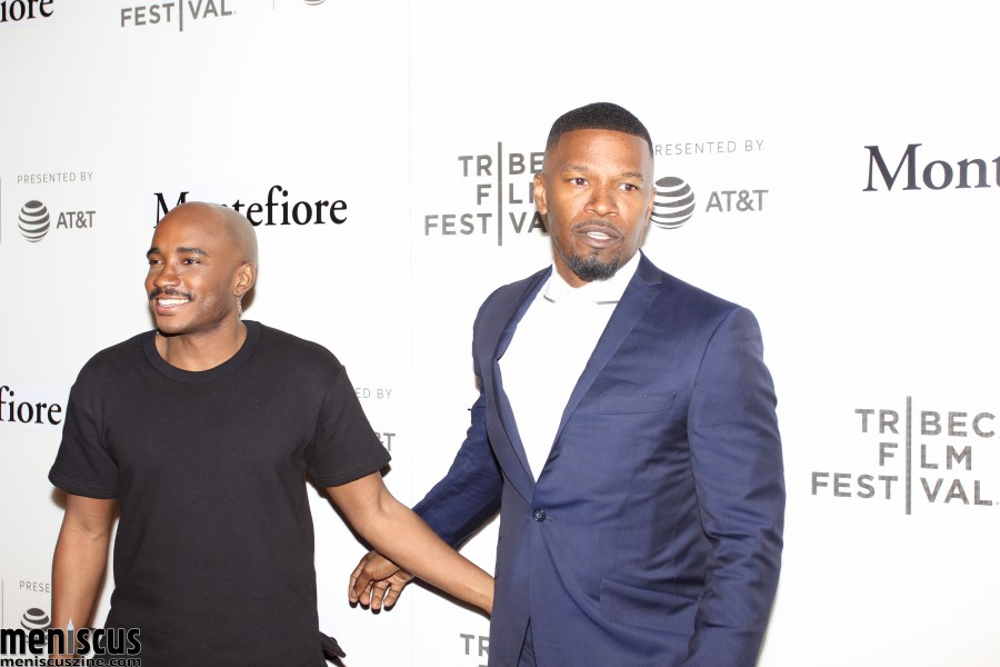 Jamie Foxx (right, with Jacques Morel) entertained the Tribeca Film Festival audience with all sorts of stories spanning his prolific entertainment career. One of these included how his grandmother's foresight in encouraging him to play the piano led to a university scholarship and the chance to meet classmates from all over the world. (photo by Yanek Che / Meniscus Magazine)