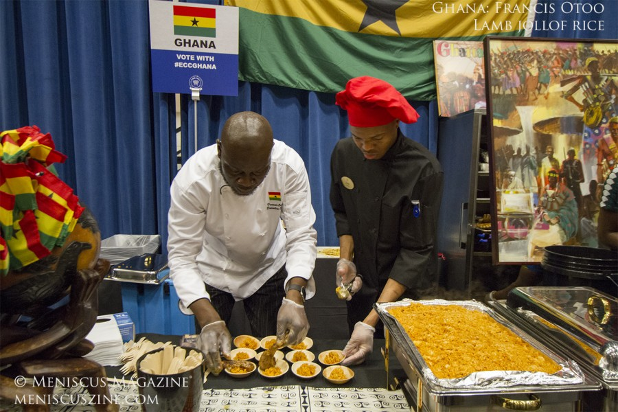 Second place for both divisions resulted in another sweep, this time by Ghana's Francis Otoo (left) and his Lamb Jollof Rice. (photo by Kwai Chan / Meniscus Magazine)